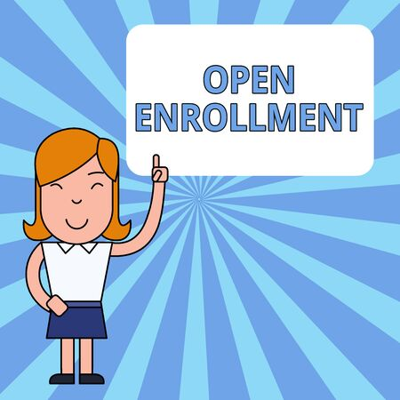 Writing note showing Open Enrollment. Business concept for The yearly period when showing can enroll an insurance Woman Standing with Raised Left Index Finger Pointing at Blank Text Box Stock Photo