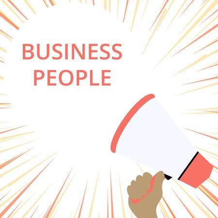 Word writing text Business People. Business photo showcasing People who work in business especially at an executive level Hand Holding Loudhailer Empty Round Speech Text Balloon Announcement New