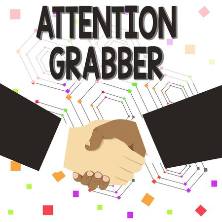 Text sign showing Attention Grabber. Business photo text Deanalysisding notice mainly by being prominent or outlandish Hand Shake Multiracial Male Business Partners Colleagues Formal Black Suits