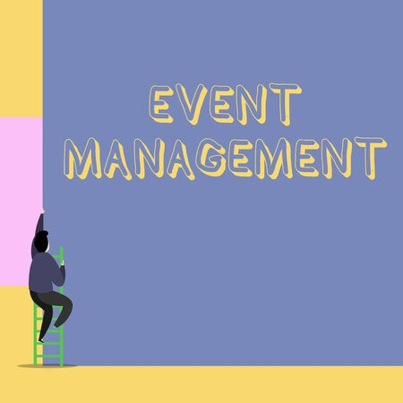 Word writing text Event Management. Business photo showcasing creation and development of large scale actions festivals Back view young man climbing up staircase ladder lying big blank rectangle Reklamní fotografie
