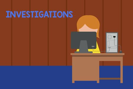 Word writing text Investigations. Business photo showcasing The formal action or systematic examination about something Young female working office sitting desktop computer office monitor photo