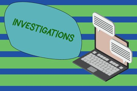 Writing note showing Investigations. Business concept for The formal action or systematic examination about something Laptop receiving sending information internet wireless Stock Photo