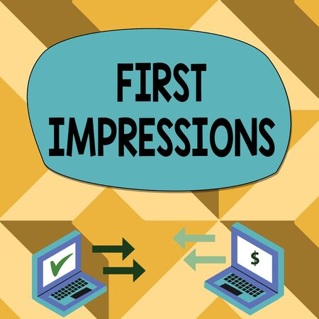 Text sign showing First Impressions. Business photo showcasing What a demonstrating thinks of you when they first meet you Exchange Arrow Icons Between Two Laptop with Currency Sign and Check Icons