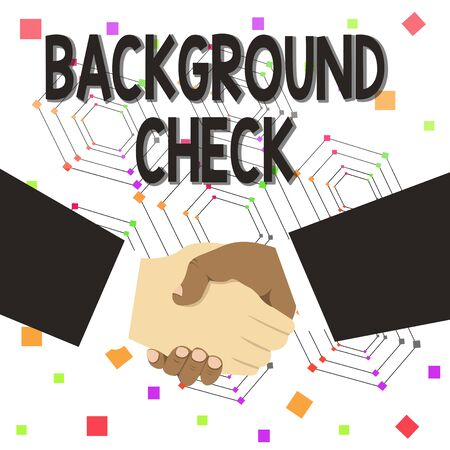Text sign showing Background Check. Business photo text way to discover issues that could affect your business Hand Shake Multiracial Male Business Partners Colleagues Formal Black Suits