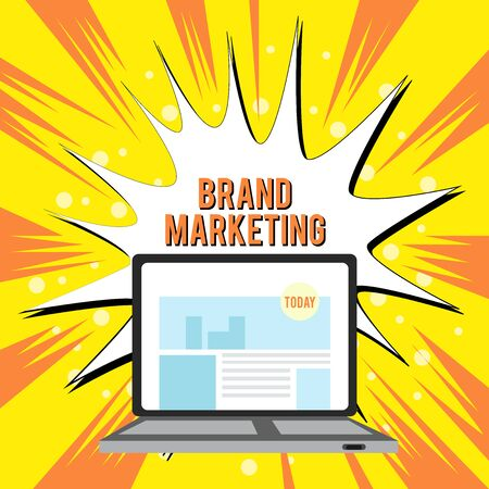 Text sign showing Brand Marketing. Business photo text Creating awareness about products around the world Open Modern Laptop Switched On with Website Homepage on Screen Web Search
