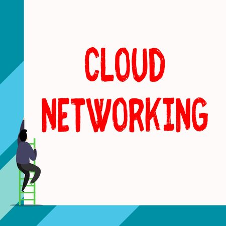 Writing note showing Cloud Networking. Business concept for is term describing access of networking resources Back view young long hair woman holding blank square announcement