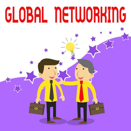 Handwriting text writing Global Networking. Conceptual photo Communication network which spans the entire Earth WAN Two White Businessmen Colleagues with Brief Cases Sharing Idea Solution