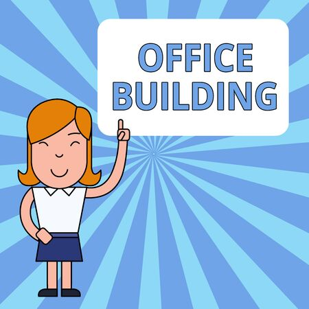 Writing note showing Office Building. Business concept for Commercial buildings are used for commercial purposes Woman Standing with Raised Left Index Finger Pointing at Blank Text Box