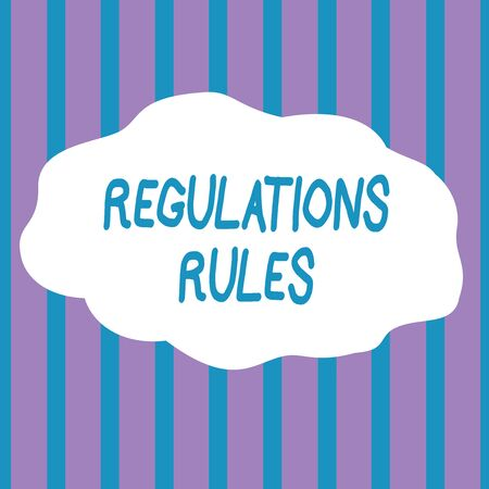 Text sign showing Regulations Rules. Business photo showcasing Standard Statement Procedure govern to control a conduct Seamless Vertical Stripes Pattern in Blue and Violet Alternate Color Strip Banque d'images - 124648896