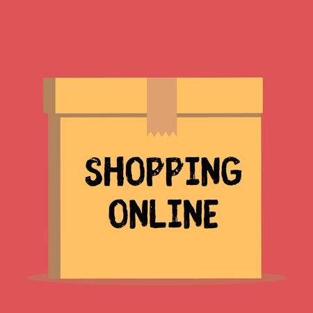 Handwriting text Shopping Online. Conceptual photo buying you want through internet website then deliver it Close up front view open brown cardboard sealed box lid. Blank background