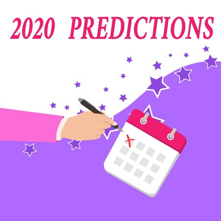 Text sign showing 2020 Predictions. Business photo text list of things you feel that going to happen without proof Male Hand Formal Suit Crosses Off One Day Calendar Red Ink Ballpoint Pen