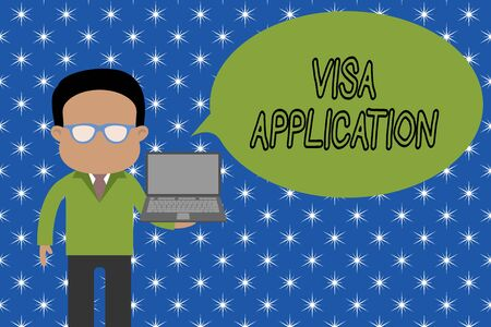 Text sign showing Visa Application. Business photo showcasing Form to ask permission travel or live in another country Standing man in suit wearing eyeglasses holding open laptop photo Art