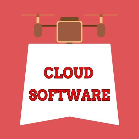 Writing note showing Cloud Software. Business concept for Programs used in Storing Accessing data over the internet Drone holding downwards banner. Geometrical abstract background design