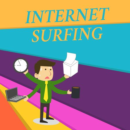 Handwriting text writing Internet Surfing. Conceptual photo browsing hundred of websites using any installed browser Stressed Out Male Employee Manager Many Armed Multitasking Meet Deadline