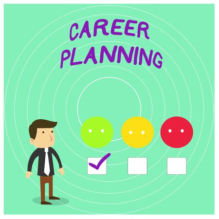 Conceptual hand writing showing Career Planning. Concept meaning Strategically plan your career goals and work success White Questionnaire Survey Choice Satisfaction Green Tick 写真素材 - 124649058