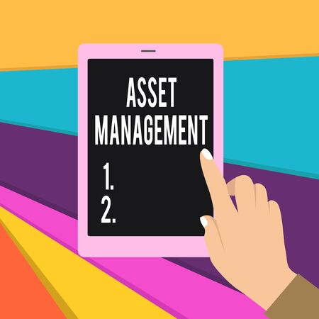 Word writing text Asset Management. Business photo showcasing systematic process of operating and disposing of assets Female Hand with White Polished Nails Pointing Finger Tablet Screen Off