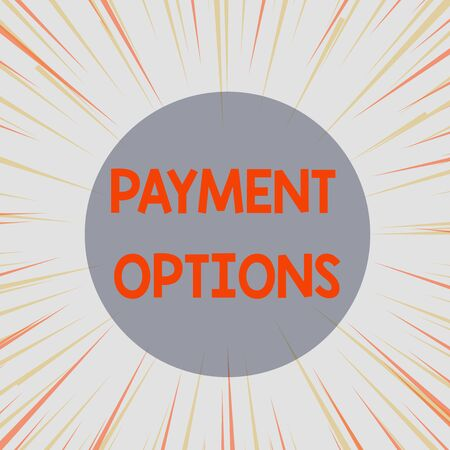 Word writing text Payment Options. Business photo showcasing The way of chosen to compensate the seller of a service Sunburst Explosion Yellow Orange Pastel Rays Beams Depth and Perspective Reklamní fotografie
