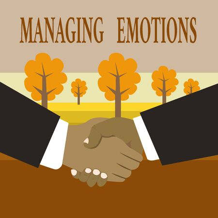 Writing note showing Managing Emotions. Business concept for Controlling feelings in oneself Maintain composure Hand Shake Multiracial Male Business Partners Formal Suits 版權商用圖片