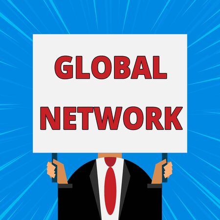 Handwriting text writing Global Network. Conceptual photo Any communication system which spans the entire Earth Just man chest dressed dark suit tie no face holding blank big rectangle Stock Photo
