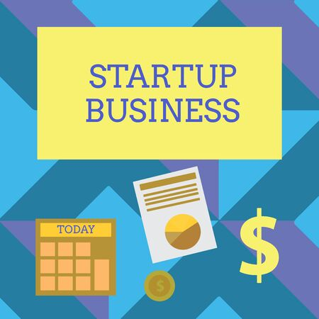 Text sign showing Startup Business. Business photo showcasing Engaging to a New Venture Fresh Trading and Selling Computing Dollar Investment in Gold and Presenting Data thru Pie Chart Graph