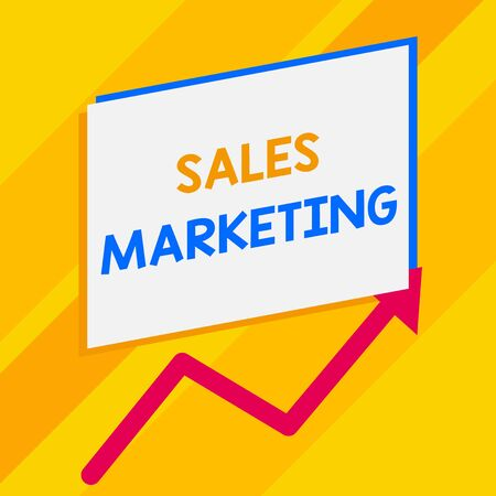 Conceptual hand writing showing Sales Marketing. Concept meaning introducing product or service in order to get bought Blank rectangle above another zigzag upwards increasing sale