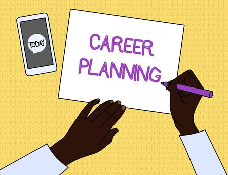 Handwriting text Career Planning. Conceptual photo Strategically plan your career goals and work success Top View Man Writing Blank Paper Pen Pencil Marker Smartphone Message Icon 写真素材