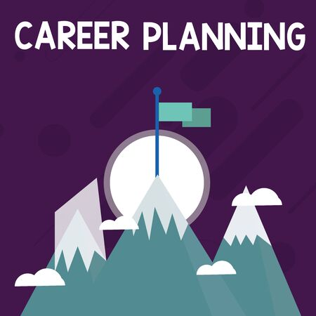 Conceptual hand writing showing Career Planning. Concept meaning Strategically plan your career goals and work success Three High Mountains with Snow and One has Flag at the Peak 写真素材 - 124650166