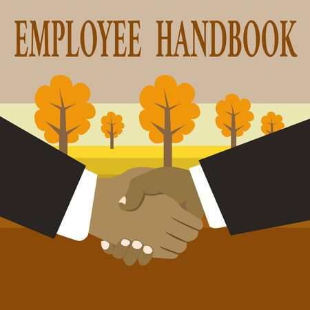 Writing note showing Employee Handbook. Business concept for Document that contains an operating procedures of company Hand Shake Multiracial Male Business Partners Formal Suits