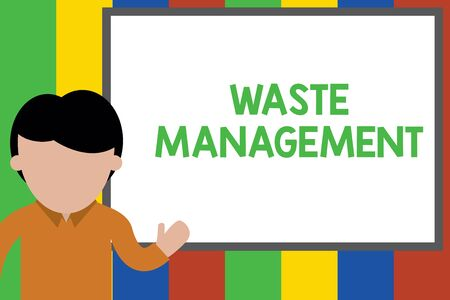 Writing note showing Waste Management. Business concept for actions required analysisage rubbish inception to final disposal Young man standing in front whiteboard pointing to project. photo Art