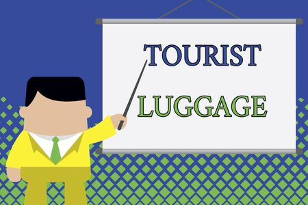 Writing note showing Tourist Luggage. Business concept for big bag that contains everything one needs for traveling Businessman standing in front projector screen pointing project idea