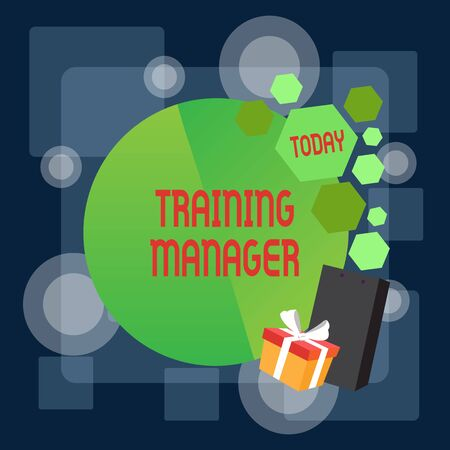 Writing note showing Training Manager. Business concept for giving needed skills for high positions improvement Greeting Card Poster Gift Package Presentation Box Decorated by Bowknot