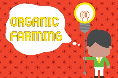 Word writing text Organic Farming. Business photo showcasing an integrated farming system that strives for sustainability Standing man tie holding plug socket light bulb to connect idea. Startup