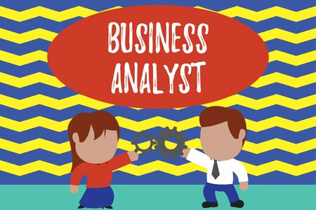 Conceptual hand writing showing Business Analyst. Concept meaning someone who analyzes big organization or website domain Young couple sharing gear Man tie woman skirt relation Imagens