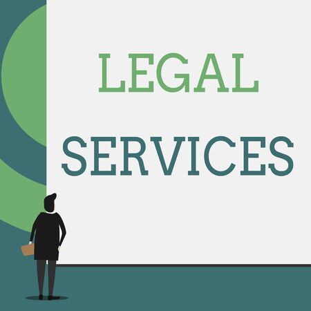 Text sign showing Legal Services. Business photo showcasing Providing access to justice Fair trial Law equality Back view young woman watching blank big rectangle. Geometrical background