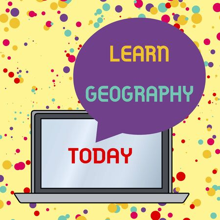 Text sign showing Learn Geography. Business photo text study of physical features of earth and its atmosphere Round Shape Empty Speech Bubble Floating Over Open Laptop Colored Backdrop