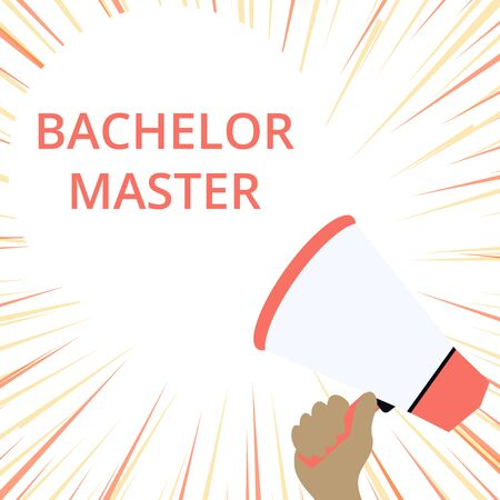 Word writing text Bachelor Master. Business photo showcasing An advanced degree completed after bachelor s is degree Hand Holding Loudhailer Empty Round Speech Text Balloon Announcement New Imagens - 124650501