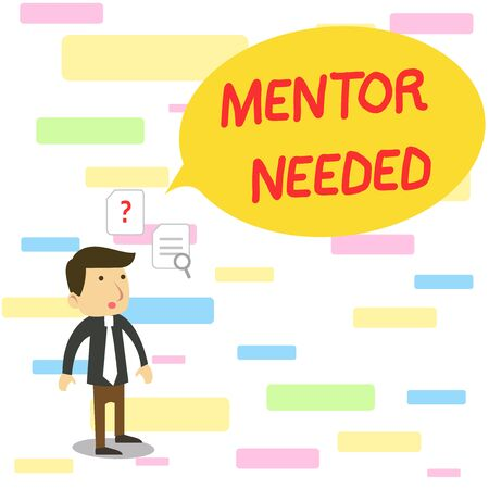 Text sign showing Mentor Needed. Business photo text wanted help for more experienced or more knowledgeable demonstrating Young Male Businessman Office Worker Standing Searching Problem Solution Stockfoto