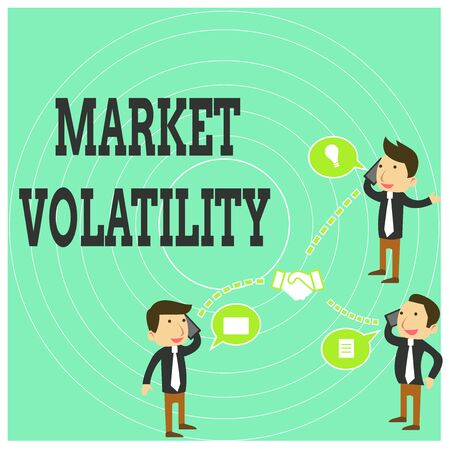 Conceptual hand writing showing Market Volatility. Concept meaning Underlying securities prices fluctuates Stability status Businessmen Coworker Conference Call Discussion Mobile Phone