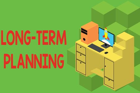Text sign showing Long Term Planning. Business photo showcasing Establish Expected Goals five or more years ahead Working desktop station drawers personal computer launching rocket clouds