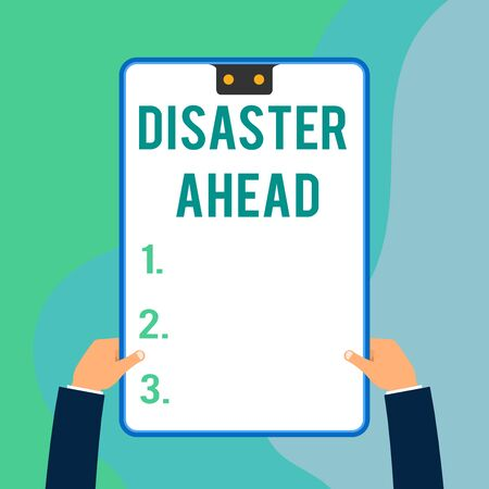 Conceptual hand writing showing Disaster Ahead. Concept meaning Contingency Planning Forecasting a disaster or incident Two executive male hands electronic device geometrical background