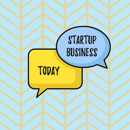 Writing note showing Startup Business. Business concept for Engaging to a New Venture Fresh Trading and Selling Pair of Overlapping Blank Speech Bubbles of Oval and Rectangular Shape