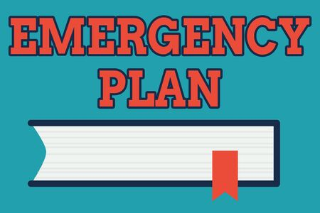 Text sign showing Emergency Plan. Business photo text Procedures for response to major emergencies Be prepared Side View of Closed Book on Table Desk with Red Bookmark Ribbon Isolated