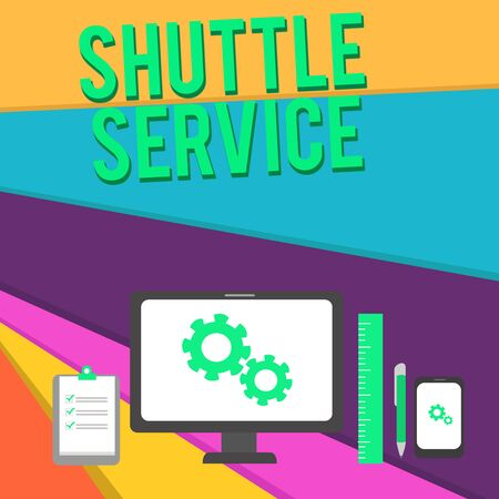 Word writing text Shuttle Service. Business photo showcasing vehicles like buses travel frequently between two places Business Concept PC Monitor Mobile Device Clipboard Ruler Ballpoint Pen