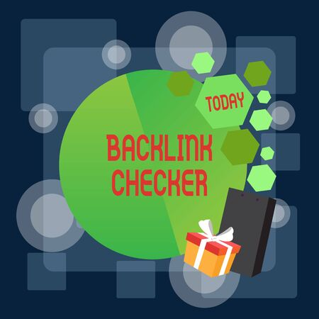 Writing note showing Backlink Checker. Business concept for Find your competitors most valuable ones and spot patterns Greeting Card Poster Gift Package Presentation Box Decorated by Bowknot