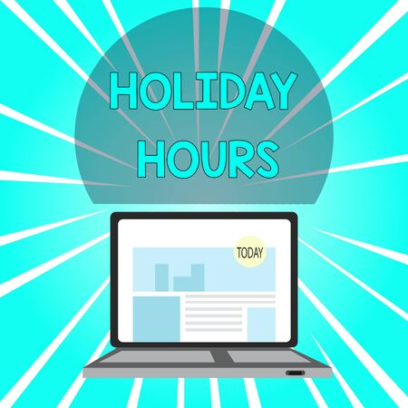 Handwriting text writing Holiday Hours. Conceptual photo employee receives twice their normal pay for all hours Open Modern Laptop Switched On with Website Homepage on Screen Web Search Banco de Imagens
