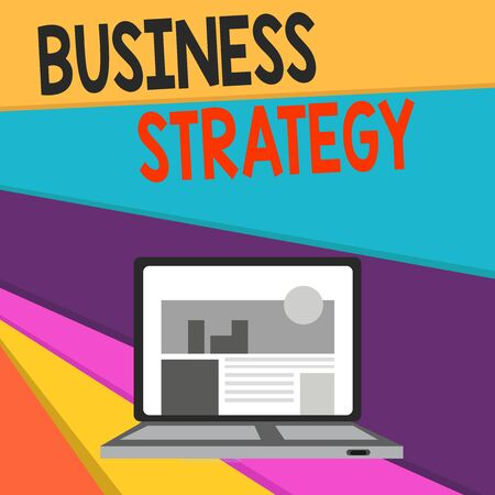 Handwriting text writing Business Strategy. Conceptual photo Management game plan to achieve desired goal or objective Open Modern Laptop Switched On with Website Homepage on Screen Web Search