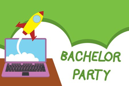 Text sign showing Bachelor Party. Business photo showcasing Party given for a analysis who is about to get married Stag night Successful rocket launching clouds out laptop background. Startup growing