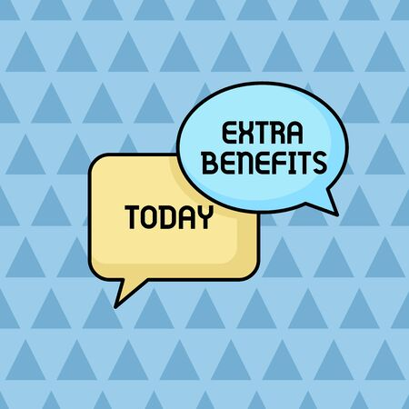 Text sign showing Extra Benefits. Business photo showcasing Additional compensation Bonus Subsidies Incentives Allowances Pair of Overlapping Blank Speech Bubbles of Oval and Rectangular Shape