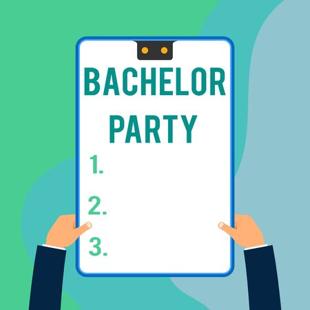 Conceptual hand writing showing Bachelor Party. Concept meaning Party given for a analysis who is about to get married Stag night Two executive male hands electronic device geometrical background Foto de archivo