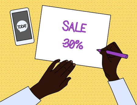 Handwriting text Sale 30 Percent. Conceptual photo A promo price of an item at 30 percent markdown Top View Man Writing Blank Paper Pen Pencil Marker Smartphone Message Icon